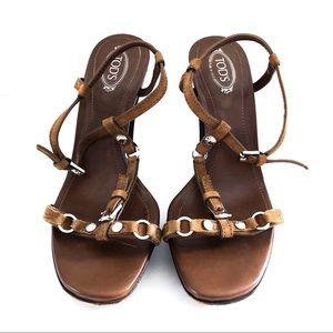 {TODS} Brown Leather T-Strap Buckle Heels Sandals
